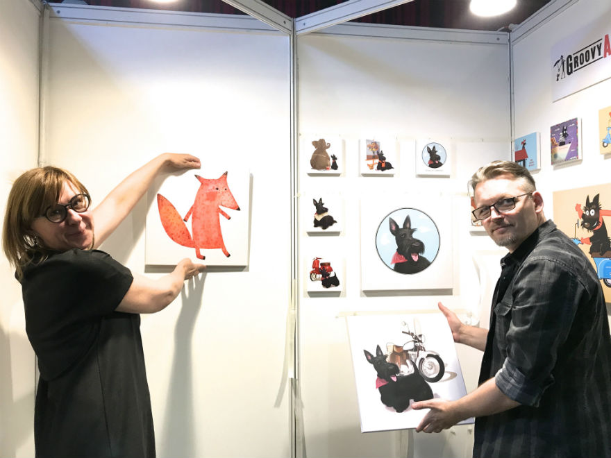 GroovyArt's Edita and Martynas line up their animals.