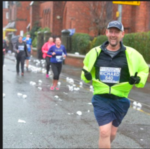 Richard running to get the word out about organ donation.