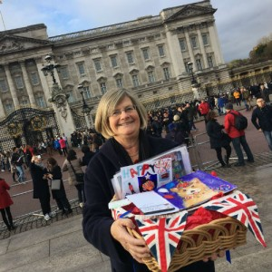 Lynn arriving at Buckingham Palace with some of the cards that hundreds of school children created for the competition she instigated.