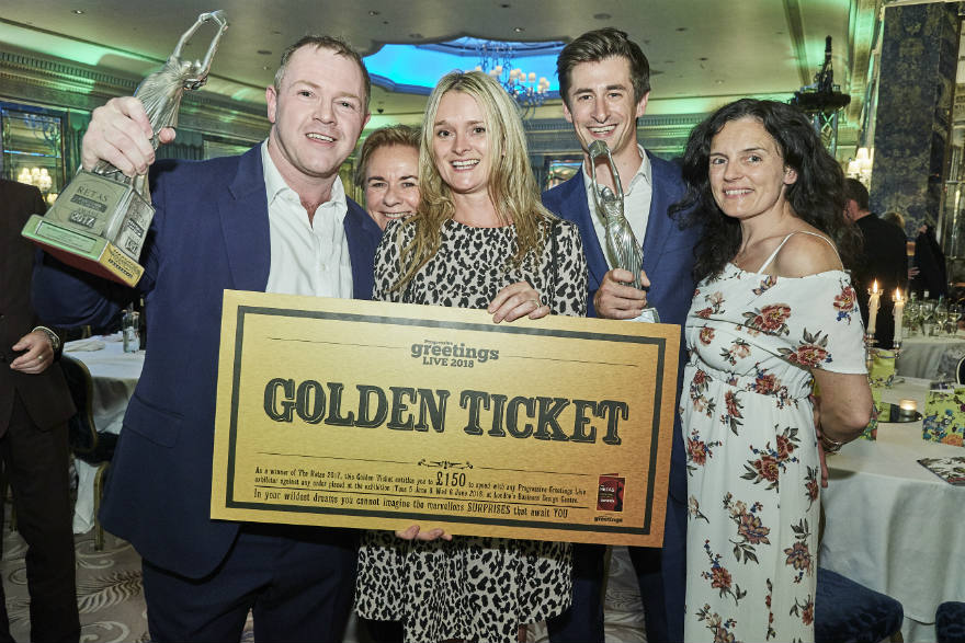 (Left-right) Retas Winner David Robertson (JP Pozzi), Jenny Cummins (Macmillan Cards, Sydney), Wendy Jones-Blackett (Wendy Jones-Blackett), double Retas winners Mark and Leona Janson-Smith (Postmark) in celebration mode. Every winner of The Retas will receive a Golden Ticket worth £150 to spend at PG Live 2018 and all finalists will receive a Silver Ticket worth £75 to spend at the show.
