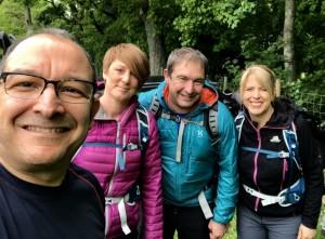 Ian Bradley, Didi Hill, Andy Bradley and Lorraine Bradley in training