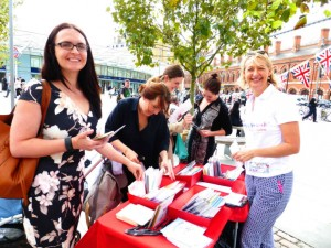 Sharon Little giving out cards at King's Cross last year for Thinking of You Week.