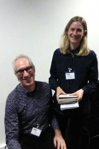 Andy Adamson with publisher Lizzie Chancellor at the recent GCA speed dating Dragons event.