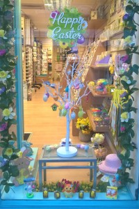 Easter decorations are becoming very popular, as on this tree in the window of Dragonfly Cards and Gifts.