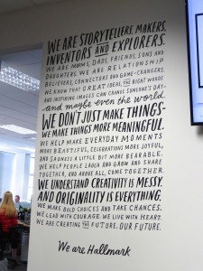 Inspirational words adorn the walls at Hallmark UK's amazing new Bradford headquarters