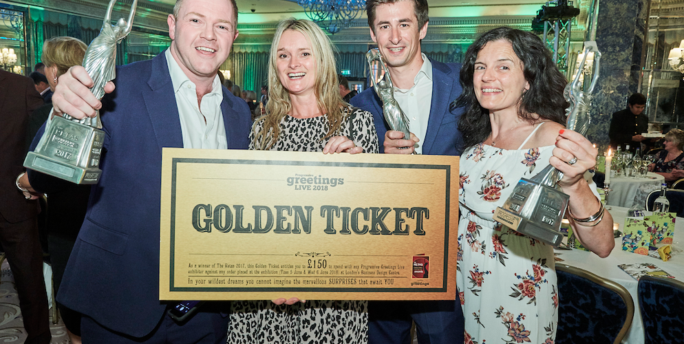 David Robertson (left) celebrating the Pozzi/Bijou win with fellow Retas' winners (far right) Leona and Mark Janson-Smith and Wendy Jones-Blackett, creative maestro of Wendy Jones-Blackett.