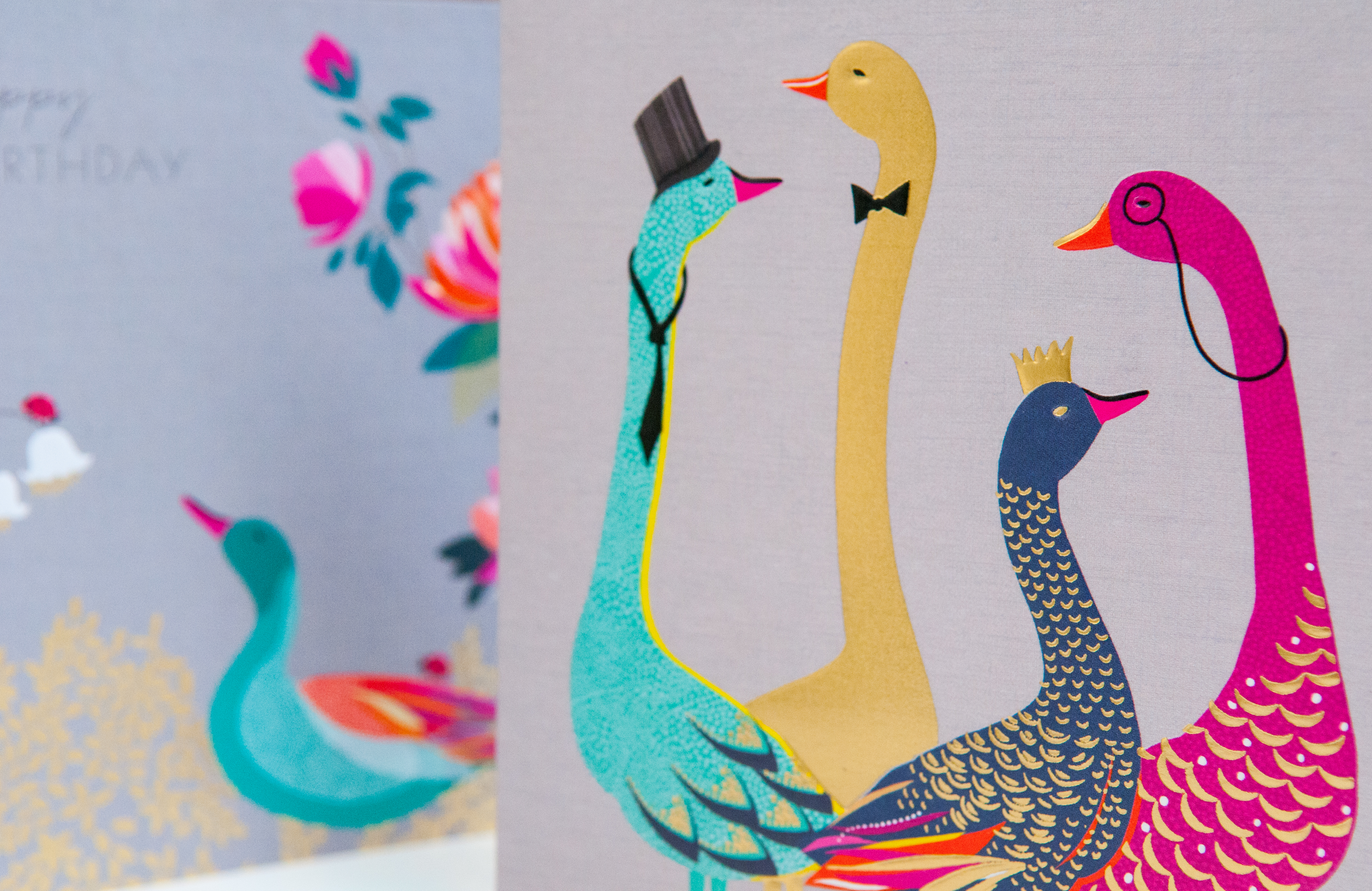 Sara Miller's distinctive artwork and rich palette are enhanced by embossed foiling on the cards from The Art File.