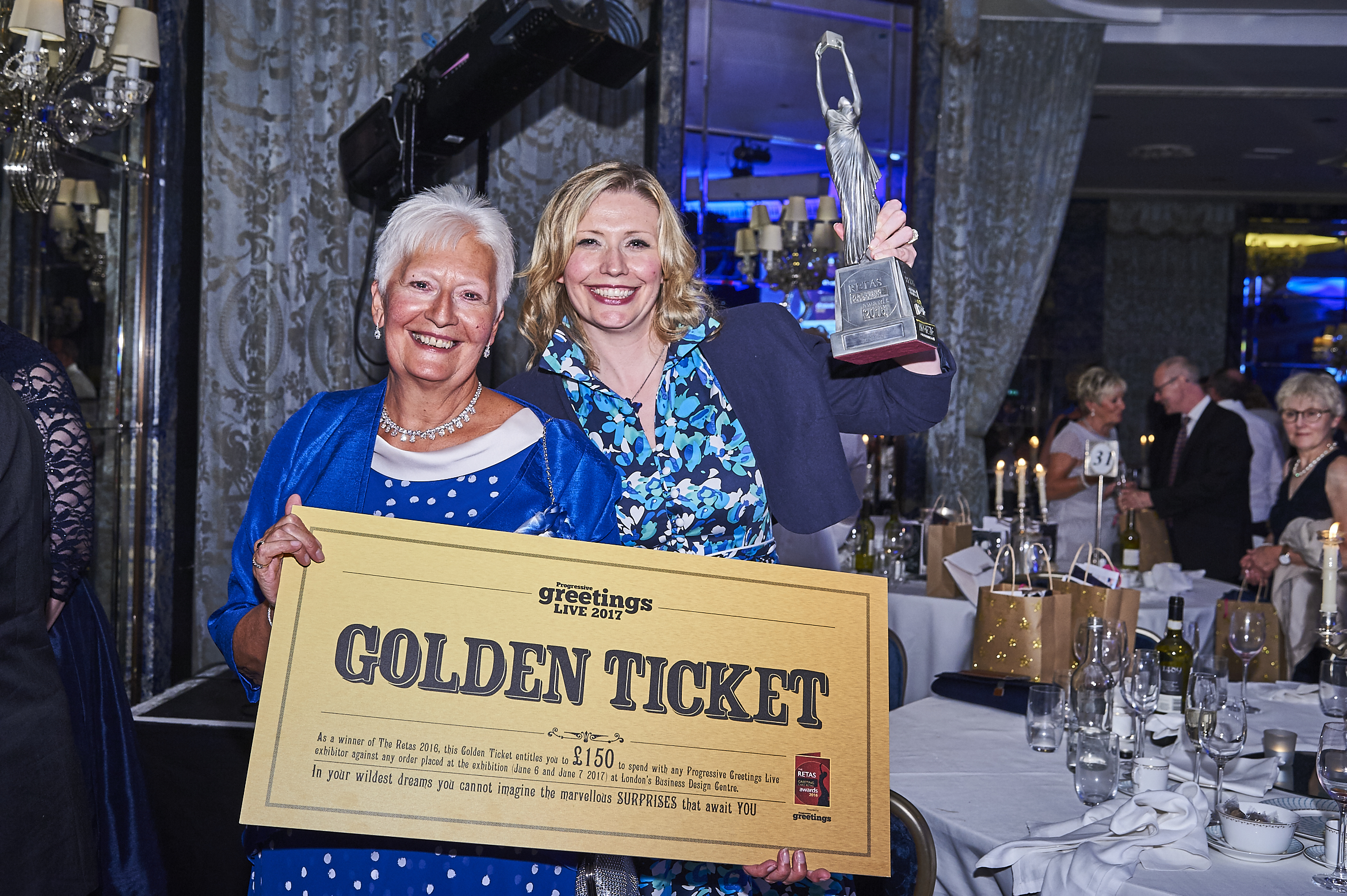 Rachael Barnes (right) and Rita Knibbs, her mum and business partner, at The Retas 2016 at which it won the Best Retail Initiative Award.