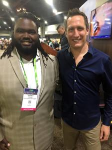 Above: (left) Temitayo Osinubi from The Marketing Disenchanted with Jeremy Corner of Blue Eyed Sun at Sage Summit, Atlanta.