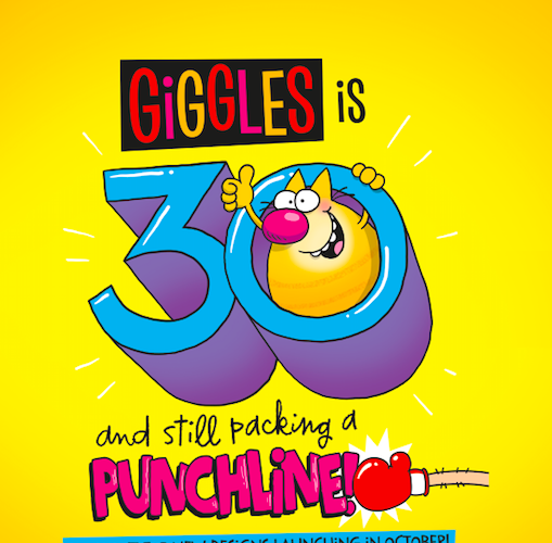 Above: One of the promotional messages that will be used throughout Giggles' 30th anniversary year.