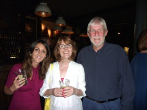 Lynn's husband Andy with (centre) Debbie Wigglesworth (The Paper Library) and Ilona Drew (I Drew This).
