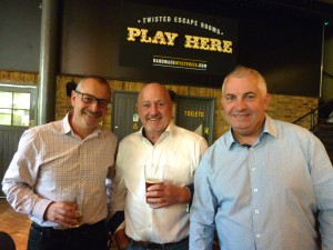 (Right) Paperlink's Bill Greeno (who played piano at the Memorial) with (centre) Bob Short (The Imaging Centre) and Jeremy Bacon (The Sherwood Group).