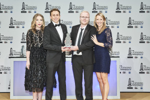 Danilo's licensing director Dan Grant (second left) and creative director Martin Carter was met on stage at The Licensing Award by comedian Katherine Ryan (far left) who hosted the event, and collect the trophy from Stephanie Freeman of the category sponsor, TSBA.