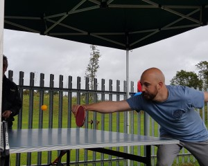 Croxley Press' Seth Woodmansterne playing table tennis.