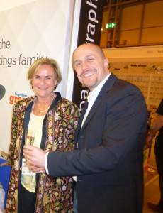 Furio Ceciliato at the Spring Fair in February chatting to Jenny Cummins of McMillan Cards on the PG stand.