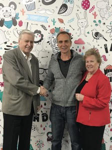 Frank Pynakker, chairman of Design Group Australia (left) with Mieke and Lou Smit of Biscay.