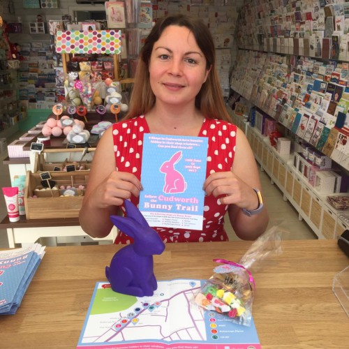 Wishes' Julia Keeling with a 'bunny', treat bag and map.
