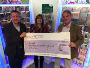 (Right-left) Perennial's chairman Dougal Philip and Anita Bates, its director of marketing and development received the cheque from Chris Houfe, sales director of GBCC.