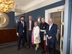 (Left-right) The Art File's James and Ged Mace at the company's recent presentation of the Queen's Award for Export with PG's Jakki Brown and (far right) Warren Lomax.