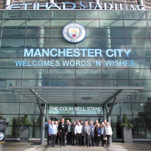 The Words 'n' Wishes team outside the Etihad stadium, home of Manchester City.
