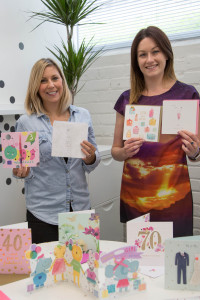 Hallmark's creative manager Gill Wood and product marketing manager Kirsty Brandon who have been working closely with Kirsty and the Waitrose team, with a few of the cards from the new selection.