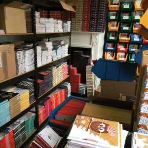 The stockrooms are piling up with Christmas cards ready to go out on display when the time is right.
