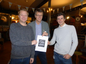 Timing it just right to turn the shop festive is something Mark Janson-Smith wrestles with. Seen here (right) with Scribbler's Eliot James (left) and House of Cards' Nigel Williamson at the judging for The Calies, UK Calendar Awards.