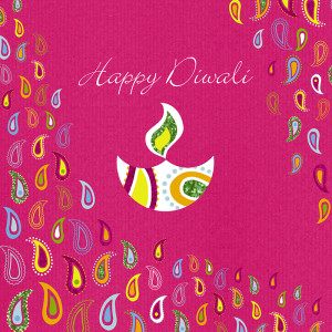 Joyful colours on a Diwali card from Davora.