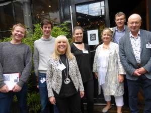 Among the Judging Panel for The Calies were retail buyers (rear left-right), Eliot James (Scribbler), Mark Jason-Smith (Postmark), Becky Salter (Calendar Club) and Nigel Williamson (House of Cards), pictured here with PG's (front right-left) Warren Lomax, Jakki Brown and Sue Marks.