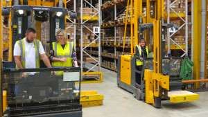 Dragonfly's Rachael Barnes in a forklift in UKG's warehouse last month when she was part of the publisher's Customer Retail Forum event.
