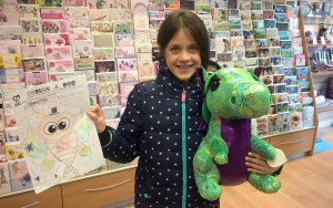 Winner Anna Jones, with her creation and her prize, a giant Ty dragon.