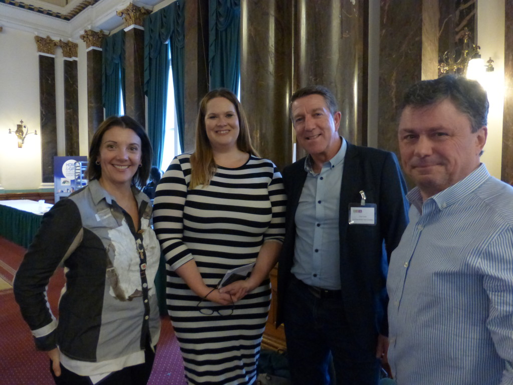 Sainsbury's card and wrap buyer Carly Pearson (2nd left) made a great speech about the importance of 'inclusivity' on cards (Carly - click to the second story in Tuesday's Buzz). Pictured here (right-left) GCA  council members Nigel Willcock (Paper Rose) and Chris Houfe (GBCC) with Lisa Marcuccio (Really Good/Soul).