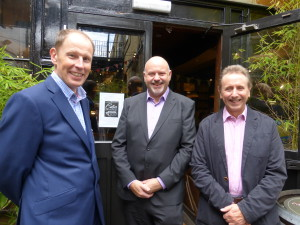 Headline sponsors (left) Michael Rose of Rose Calendars and (right) Nigel Green of Eight Days a Week with David Rogers, group marketing director of Premier Paper, an official supporter of The Calies, at the recent Judging Day.