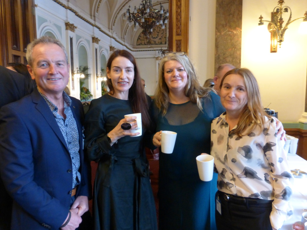 GCA council member (2nd left) Rachel Hare, md of Belly Button with colleagues (right) Kimberley Williams and Debbie Hayward with North West agent Robin Hill.