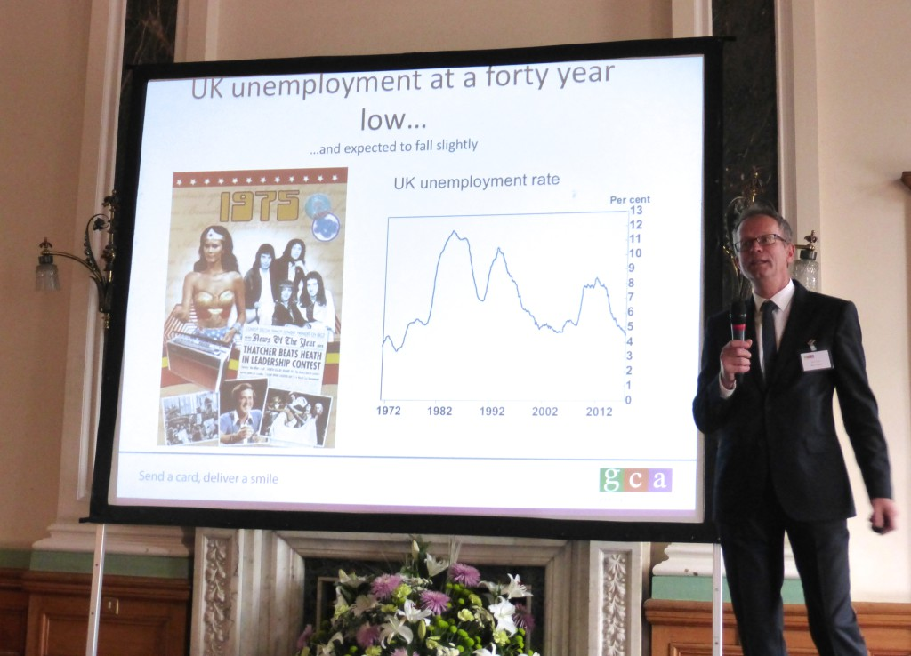 The Bank of England's Glynn Jones shared facts, figures, graphs, assumptions and predications about the UK economy.
