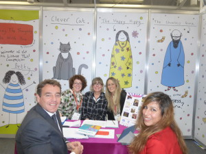 Last year's License This! winner May The Thoughts Be With You's Charlotte Webb (back right) with (back elft-right) Larkshead Media's Mel Humberstone-Garley and Clare Piggott explaining the brand to Otter House/Carousel Calendars' Martin Rees-Davies and Shabana Walji at BLE.