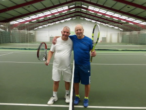 Brothers in arms – Warren and Bill (left) - at the end of their 4 hour, 47 minute tennis match yesterday.