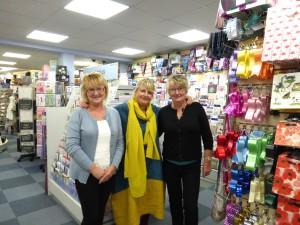 Jayne Mahoney (left) and her sister and business partner Carol Baker with PG's Jakki Brown in Pedlars Gold last month.