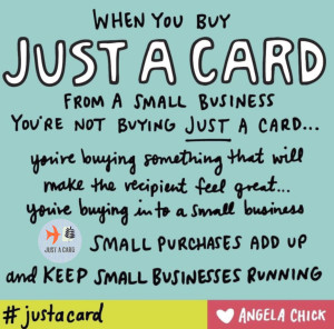 Artwork by Angela Chick to promote Just a Card day.