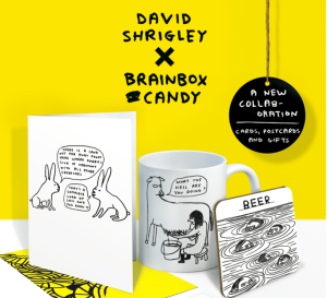 The new David Shrigley x Brainbox collection is just about to launch.