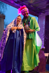Beverley Green and her husband John dressed up on the Blue Rose nativity float.