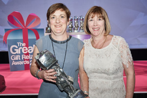 Fiona Fabien (right) with Felicity Pollock, her sister and co-owner of Papyrus at The Greats at which the Glasgow won the Best Independent Gift Retailer – Scotland award.