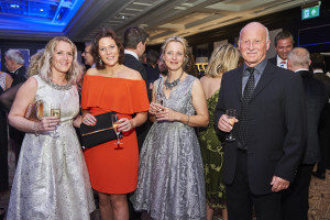 Hannah Dale (second left) with Sally Swannell (second right) at The Henries reception with Megan Purdie of Megan Claire and John Park of Berni Parker Designs.