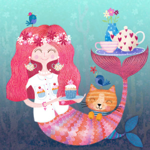 Making a splash, a mermaid design from Sue Reeves @ Image Source.