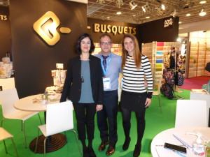 Tony Renom with colleagues (left) Marta Marganet and Clara Garriga on the Busquets stand at the recent Paperworld show in Frankfurt.