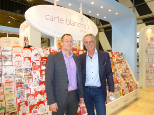 CBG's ceo Alister Marchant (left) and the company's founder Steve Haines on the stand at the Spring Fair.