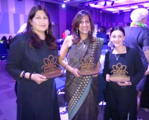 A trio of winners (right-left) Ilona Drew of I Drew This, Rani Moochhala of Paper Mirchi and Zakera Kali of Peace & Blessings.