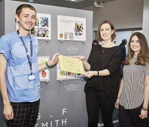 Paperchase buyers Hazel Walker (centre) and Emma Clooney with Joe Cox, winner of last year's On The Cards design and illustration category, at PG Live where the designs were on show.