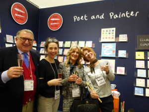 Jerry and (second right) Debbie Brown on the Poet and Painter stand at Spring Fair.