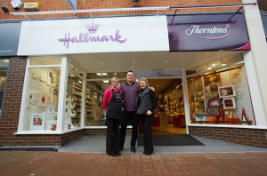 Philip and (right) Maxine Neild outside their Hallmark Reflections store in Nantwich which also includes a Thorntons franchise.
